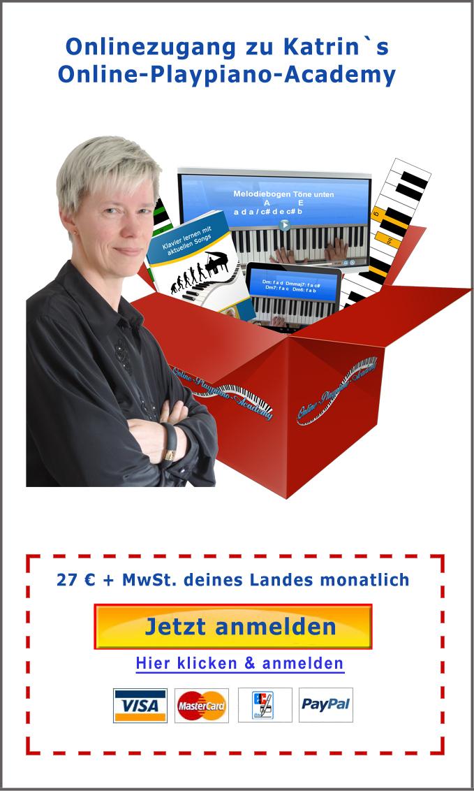 Jetzt anmelden und Songs frei Klavier spielen lernen mit Katrin Kayser - hier bestellen